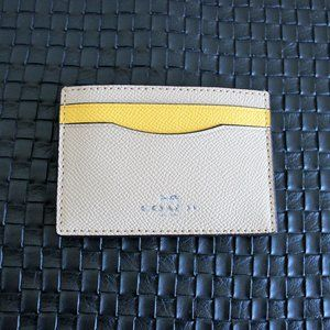 NWT COACH Leather Tan Yellow Color Block Card Case